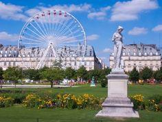 Jardín de las Tullerías: El más antiguo y el más grande de los jardines parisinos,Patrimonio Mundial de la UNESCO.Grandes extensiones de césped,con estanques y estatuas de Rodin,Giacometti y Maillols.Se encuentra en el Gran Eje desde la Pirámide del Louvre,pasando la Concordia,Campos Elíseos,Arco del Triunfo y finaliza en el Gran Arco de la Defensa.Cada verano, una feria se instala junto a la calle de Rivoli con la Gran Noria que ofrece una vista de París.