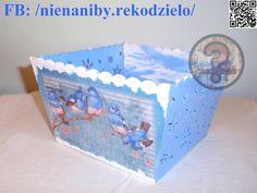 White & blue winter decoupage box by NieNaNiby