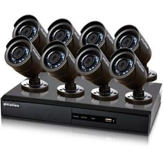 LaView Surveillance System; 960H 16CH DVR with 1TB Storage and Eight 600TVL Security Cameras, Black