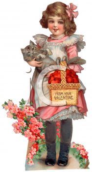iCLIPART - Royalty Free Vintage Clip Art Illustration of a Girl Carrying a Basket on Valentine's Day