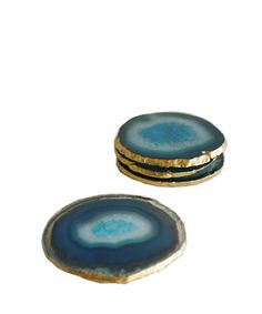 "Set of 4 ""Aqua"" Agate Coasters with Gold Leaf Edge. Absolutely beautiful"