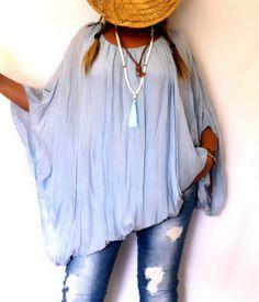Tunique blouse grande taille bleu dispo sur www.soobysophie.com