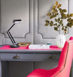 Love this neon decor in the home office!