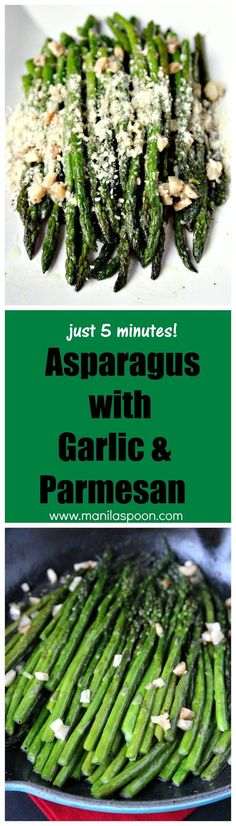 Just 5 minutes to cook this super-easy and delicious side dish - Sauteed Asparagus with Garlic! Sprinkle some Parmesan on top for extra cheesy goodness! Gluten-free and low-carb deliciousness!!! Great side dish for Thanksgiving or Christmas!