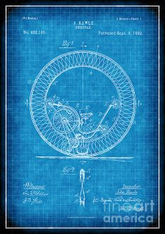 1892 monocycle patent drawing (No. white lines on blue background Monocycle, Patent Drawing, Vintage Artwork, Patent Prints, Blue Backgrounds, Vintage Designs, Fine Art America, Art Photography, Original Art
