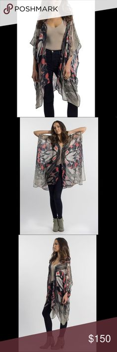 ELIZABETH GILLETT- Aria 🦋 kimono scarf wrap Coachella ready? Check!   Exquisite craftsmanship and original artwork create these exclusive versatile pieces from Elizabeth Gillett. Carried at Anthropologie in limited quantities  Whether grabbing brunch or at a festival with your Free People, you'll stand out in style in this.   Brand new with tags, the price is pretty firm on these as I only have a few available! Anthropologie Accessories Scarves & Wraps