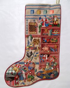 Needlepoint Christmas Stocking Completed by TntbrbefanDolls
