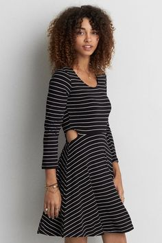 Shop women's dresses, rompers and jumpsuits on sale at American Eagle to find great style at a great price! Browse discount and clearance dresses and more today. Womens Clearance, Mens Outfitters, Fit Flare Dress, Dress Skirt, American Eagle Outfitters, Cold Shoulder Dress, Clothes For Women, Female, Sexy