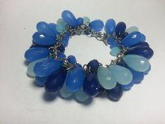 Blue Tear Drop Cluster Bracelet by tahdeah on Etsy, $5.00