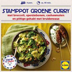Recept voor Stamppot groene curry met broccoli, sperziebonen, cashewnoten en pittige gehakt met kruidensaus #Lidl #Stamppot