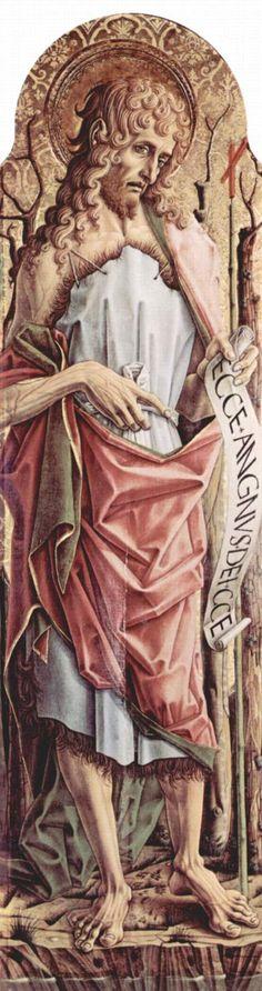 CARLO CRIVELLI (1435 – 1495)    Polittico di Sant'Emidio - San Giovanni Battista (dettaglio). Cattedrale di Sant'Emidio, Ascoli.