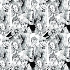 Harry Potter Fabric Harry Potter Ron Hermoine White Line Art Camelot Wizarding World Harry Potter J Harry Potter Sketch, Harry Potter Ron, Harry Potter Houses, Harry Potter Characters, Harry Potter Fabric, Potters House, Yarn Needle, Dog Friends, Crochet Hooks