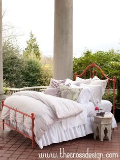Don't you feel like just curling up in this delicious bed - outside with a sweet breeze and fresh air! - from The Cross Design