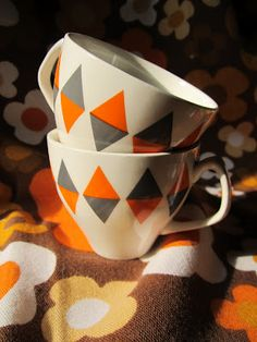 Mid Century Staffordshire Empire porcelain Checkmate coffee cups