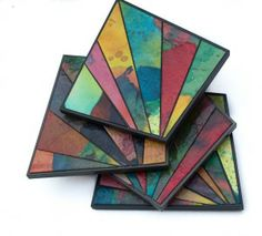 Coasters Recycled Handmade Paper Mosaic Colorful Flair