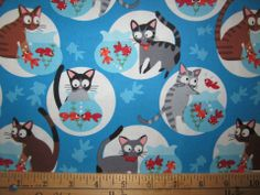 Hoodie TT Fabric Curious Gray Kitty Cat and Bug Eyed Orange Gold Fish Swimming in a Bowl, Allegro Fabrics Cat Fabric, Retro Fabric, Blue Fabric, Cotton Fabric, Vintage Fabrics, Fisher, Stash Fabrics, Timeless Treasures Fabric, Curious Cat