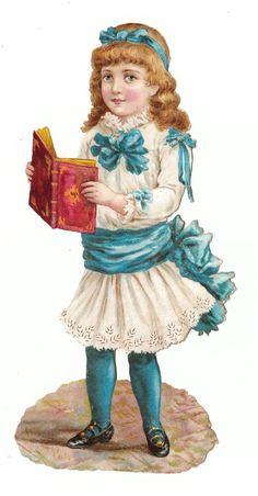 http://glanzbild.blogspot.com/ Oblates brightener scrap the cut chromo girl with book - 18 cm |  eBay: