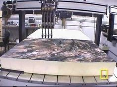 Beautiful 3D maps are milled from high-density foam using a CNC mill.  Then a custom built multi-color Inkjet Printer floats above the 3D map and prints amazingly detailed terrain, such as a map of snow covered Mount Everest and surrounding mountains.