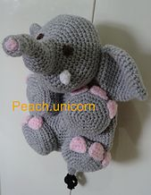 Ravelry: Elephant, Crochet Pattern, Backpack, Bag, Rucksack, Beginner, Animal, Toddler, Kid, Childs, Pyjama Case, Amigurumi pattern by Peach...