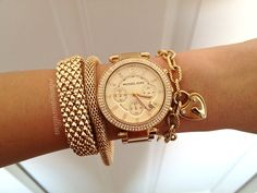 gold watch - love the whole stack