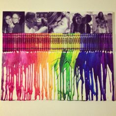 Modge podge pictures with blow dried crayons... LOVE LOVE LOVE <3