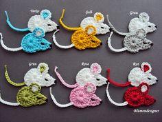 Häkelapplikation Maus © 2 Stück von Blumendesigner auf DaWanda.com