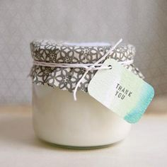 Homemade soy candle.. make using old baby food jars! Good for gifts or just having around the house since i love candles!