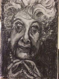De oude dame Houtskool op papier. A 3