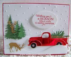 card car truck IO Impression Obsession tree trees IO evergreen IO small deer snowdrift landscape snowfall fetching and Bringing Home The christmas Tree