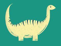 Brontosaurus illustration, phldesign, james olstein, jamesolstein, editorial, dinosaur