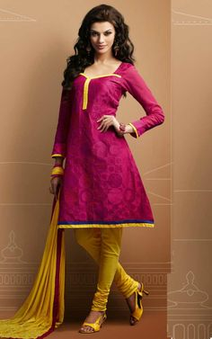 PINK & YELLOW CHANDERI COTTON SALWAR KAMEEZ - RUD 43012B
