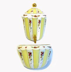 Vintage Large Lavabo Wall Fountain Ceramic - Mid century Stripes Florals Yellow White Retro Water Canister and Basin - Vintage Faux Fountain