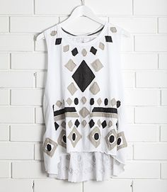 Swing style oversize/loose tank with low cut arms in rayon jersey. Also features cotton voile detail on front and back. Back has a dipped hemline Loose Tank, Signature Style, Hemline, Winter Outfits, Mosaic, Clothes For Women, Blouse, My Style, Cotton