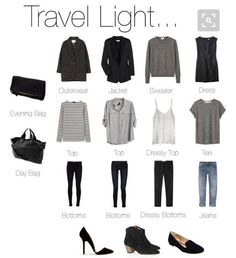 """That awkward moment when a ""how to travel light"" pin basically sums up your entire dream wardrobe #Konmari #konmarimethod #konmarilife #blackwhitegrey…"""