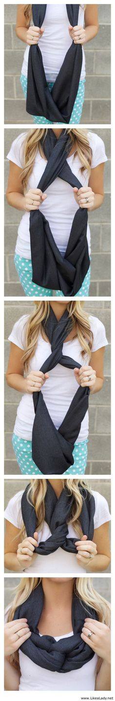 Another way to tie an infinity scarf.