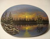Northern Lake Scene hand painted on a rock Pebble Painting, Pebble Art, Stone Painting, Rock Painting, Stone Crafts, Rock Crafts, Hand Painted Rocks, Painted Stones, Pet Rocks