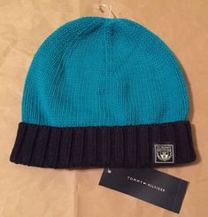New TOMMY HILFIGER Women HAT One Size Beanie Cotton Bend Turquoise Blue FREE SHI #TommyHilfinger #Beanie #everyday Tommy Hilfiger Store, Tommy Hilfiger Women, Hats For Women, Women Hat, Teal, Turquoise, Blue, Hat Sizes, Women's Accessories