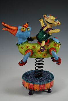 """Nico and Nando(SOLD) Moving Spring Figure 11"""" x 7"""" x 5"""" Clay, knitted wire, wood, spring"""