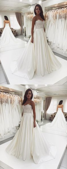 Sweet Heart Satin Beaded Wedding Dress, A-Line Backless Lace Top Wedding Dress, D1084 #laceweddingdresses #weddingdress