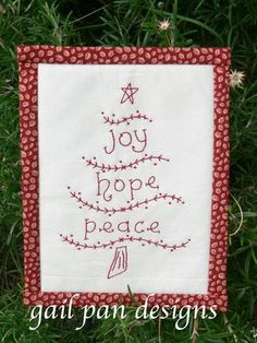 free redwork embroidery Christmas tree pattern - I just love everything from Gail Pan!