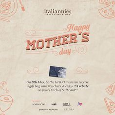 8 May 2016: Italiannies Mother's Day Promotion