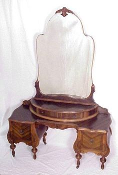 1930s VANITY:  French Deco style low vanity with mirror.