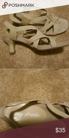 """Easy Street Strapy sandals Cream colored strapy sandals have a cute lil heel approx 2"""" Easy Spirit Shoes Sandals"""