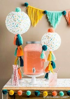 party tassels and pom poms