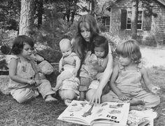 Mia Farrow with her children in Martha's Vineyard.
