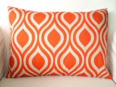 Lumbar Throw Pillows Decorative Pillows Accent Pillows Cushion Covers Orange Natural Nicole - One 12 x 16. $15.00, via Etsy.