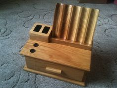 Oak flute and slot stand with drawer :)