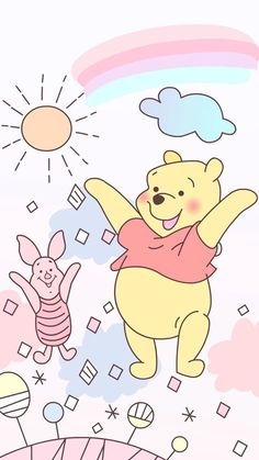 Pooh Bear Wallpaper 74 Images throughout Winnie The Pooh Bear Wallpapers - All Cartoon Wallpapers Cartoon Wallpaper Hd, Disney Phone Wallpaper, Bear Wallpaper, Pastel Wallpaper, Kawaii Wallpaper, Wallpaper Iphone Cute, Mobile Wallpaper, Cute Wallpapers, Iphone Wallpapers