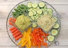 Delicious dips!  Tuscan Bean Dip and Avocado Hummus Dip, perfect for your veggie tray
