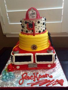 Firetruck theme Happy Birthday Cake